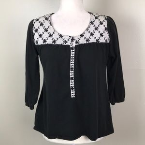 ART AND SOUL Black Knit Top Embroidered Yolk